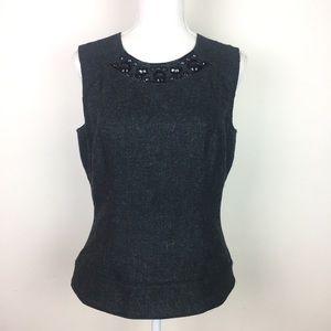 Vera Wang Wool Silk Sleeveless Beaded Blouse 8